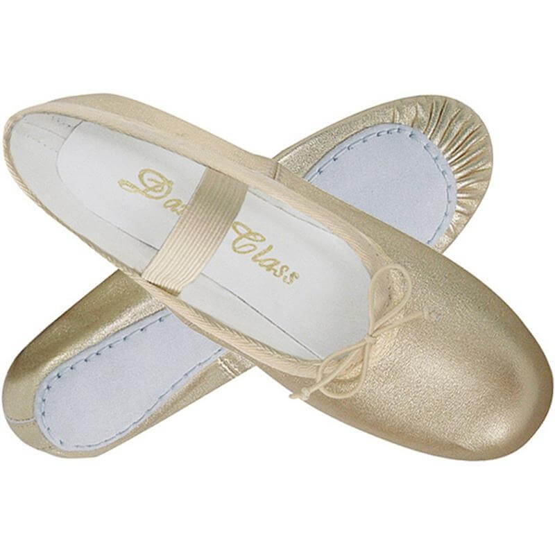 Dance Class® Metallic Gold Leather Full Sole Ballet Slipper