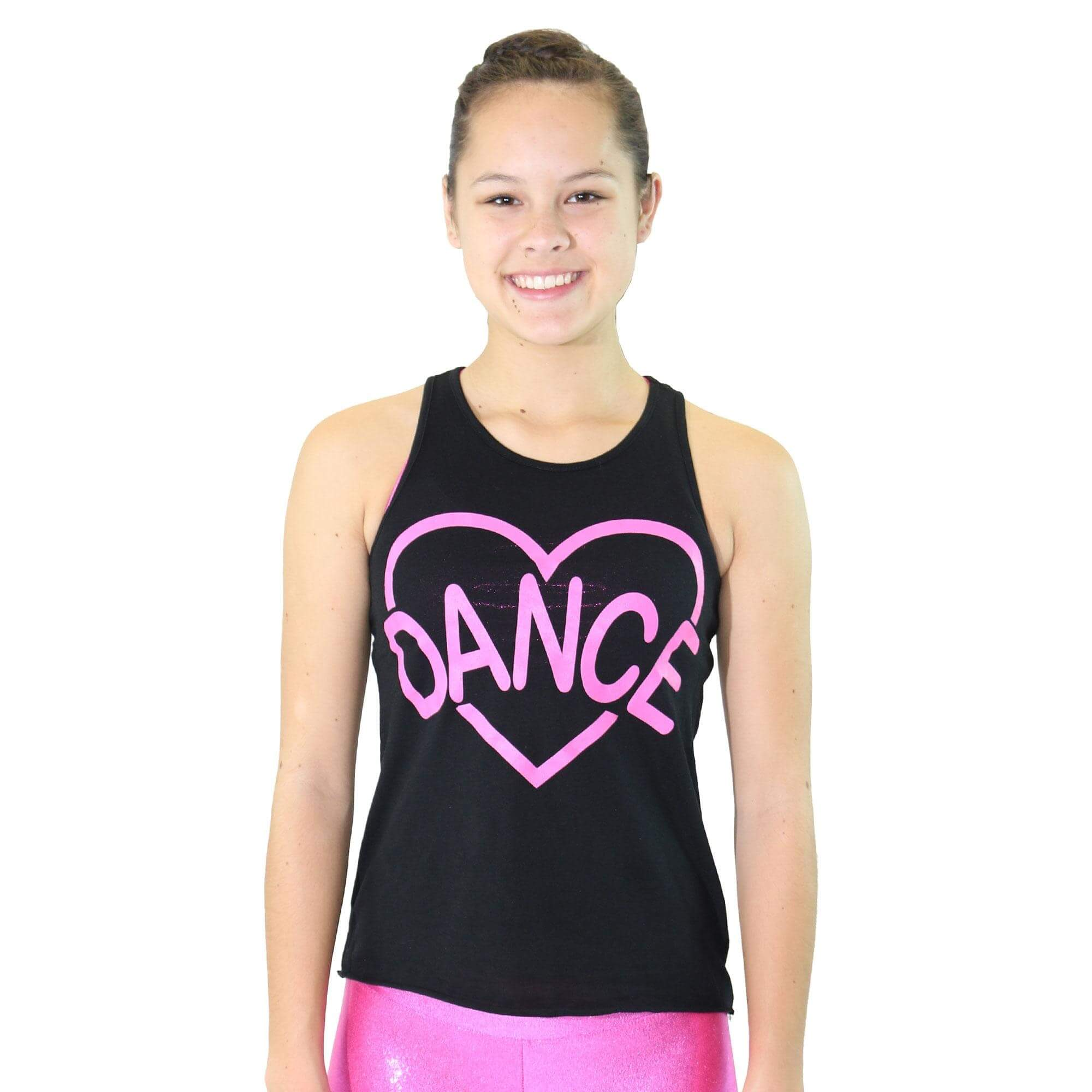 Trendy Trends Lace Back Laser Heart Dance Tank