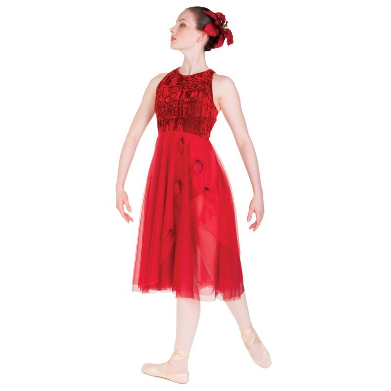 Victoria Dancewear Red Petals Lyrical Dance Dresses Costume