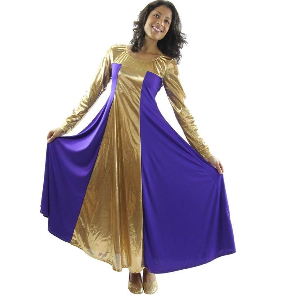 Danzcue Metallic Color Block Long Sleeve Praise Dance Dress