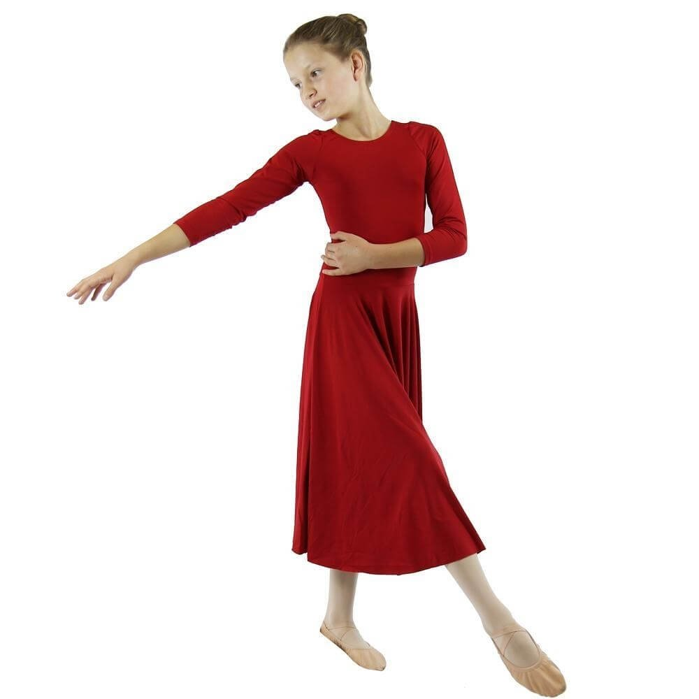 Danzcue Scarlet Praise Full Length Long Sleeve Child Dance Dress
