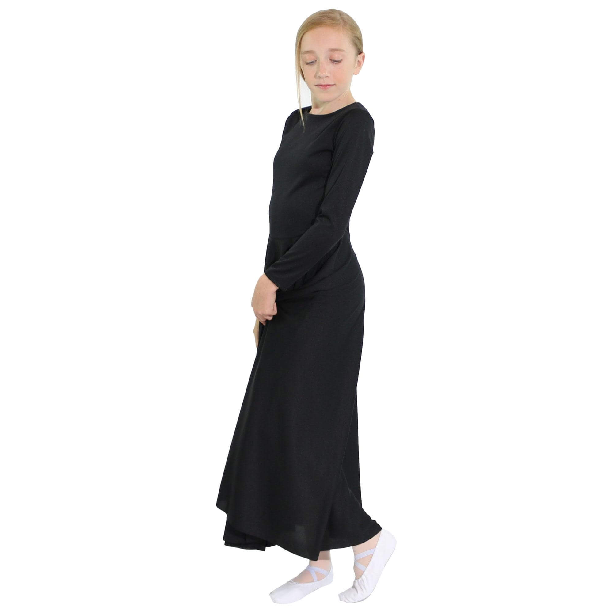 Danzcue Praise Full Length Long Sleeve Child Dance Dress - Click Image to Close