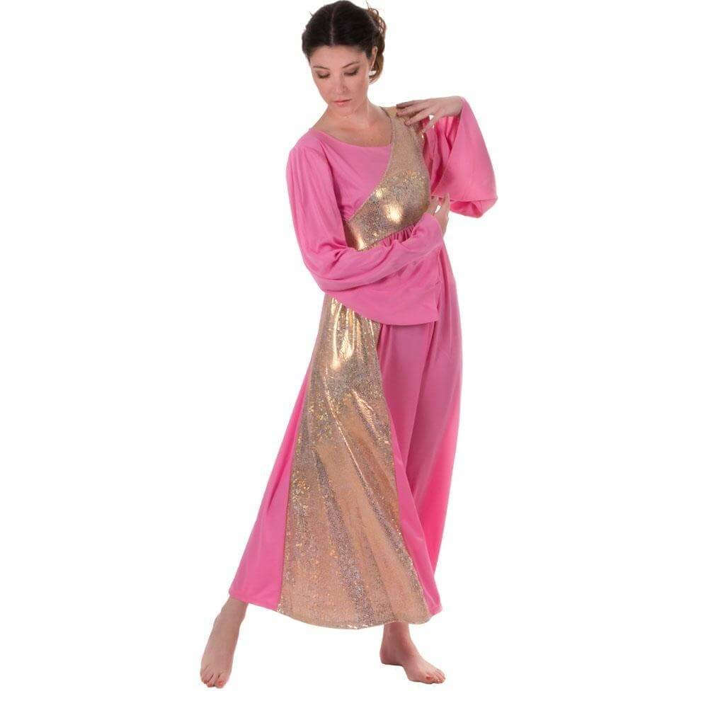 Danzcue Shimmery Pink-Gold Asymmetrical Bell Sleeve Dress