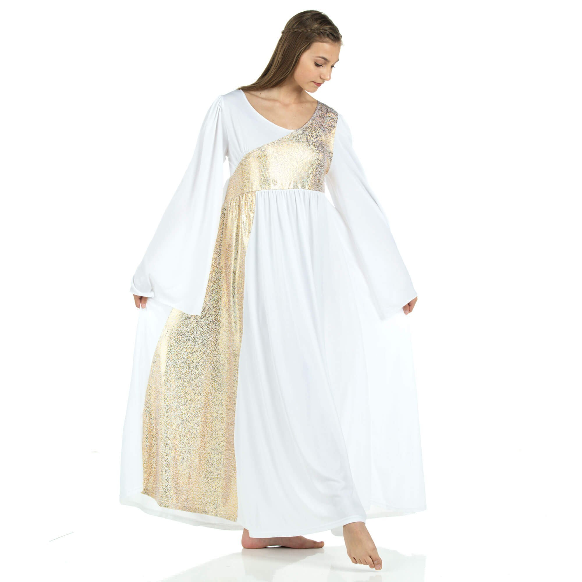 Danzcue Shimmery Asymmetrical Bell Sleeve Dress