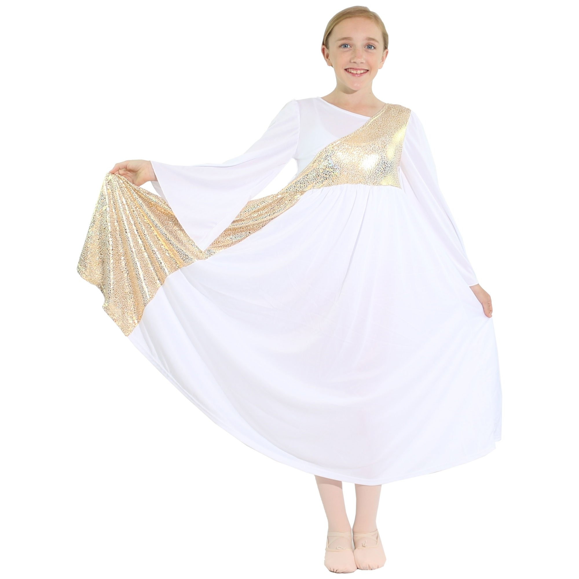 Danzcue Shimmery Asymmetrical Bell Sleeve Child Praise Dance Dress