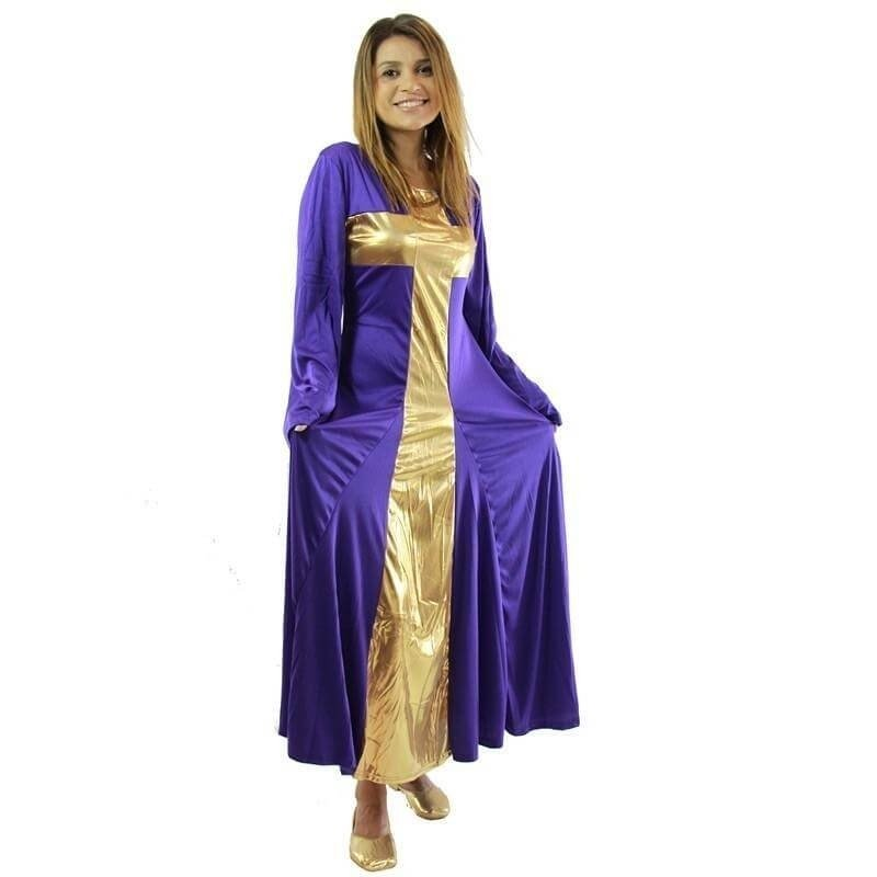Danzcue Praise Deep Purple-Gold Cross Long Dress