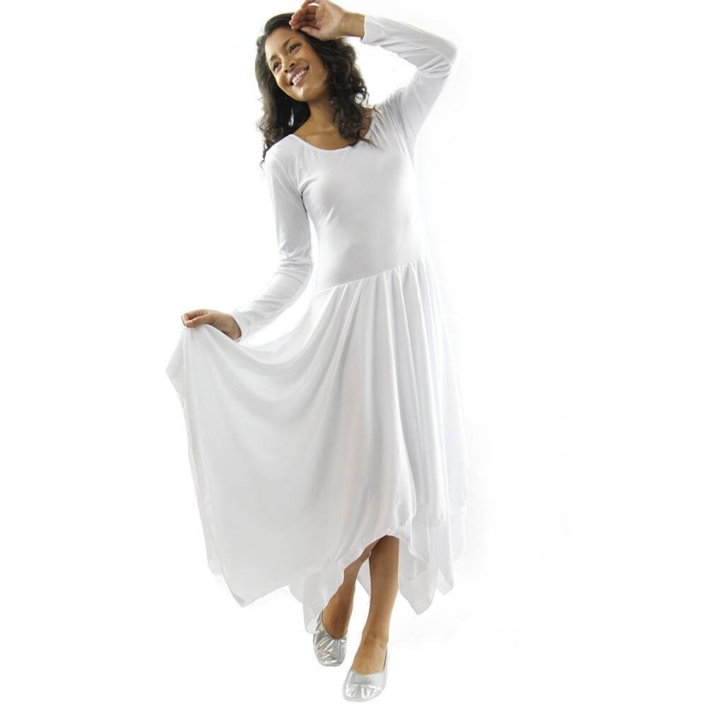 Danzcue White Celebration of Spirit Long Sleeve Dance Dress