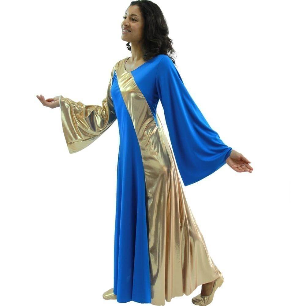 Danzcue Bright Royal-Gold Asymmetrical Bell Sleeve Dress
