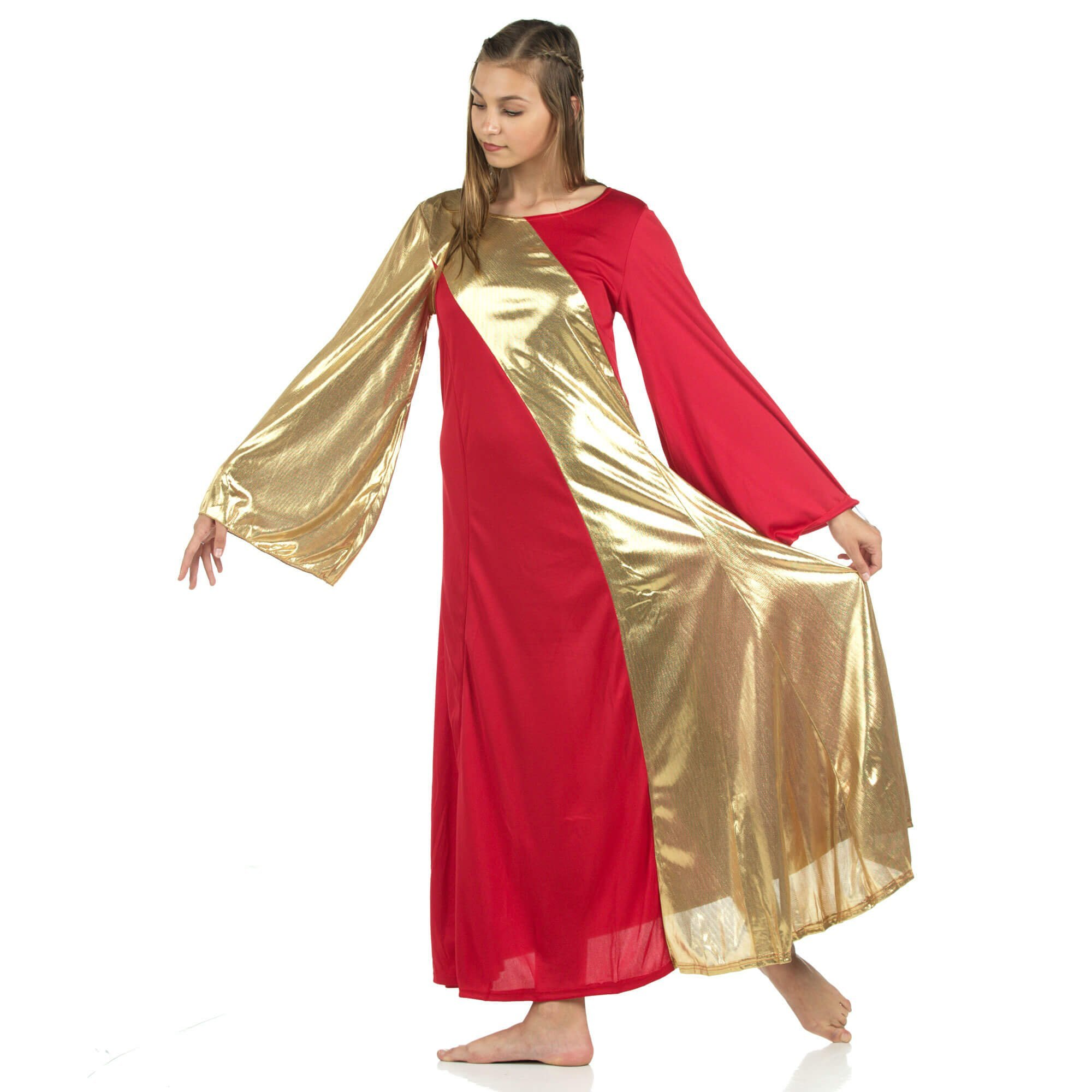 Danzcue Asymmetrical Scarlet-Gold Bell Sleeve Dress