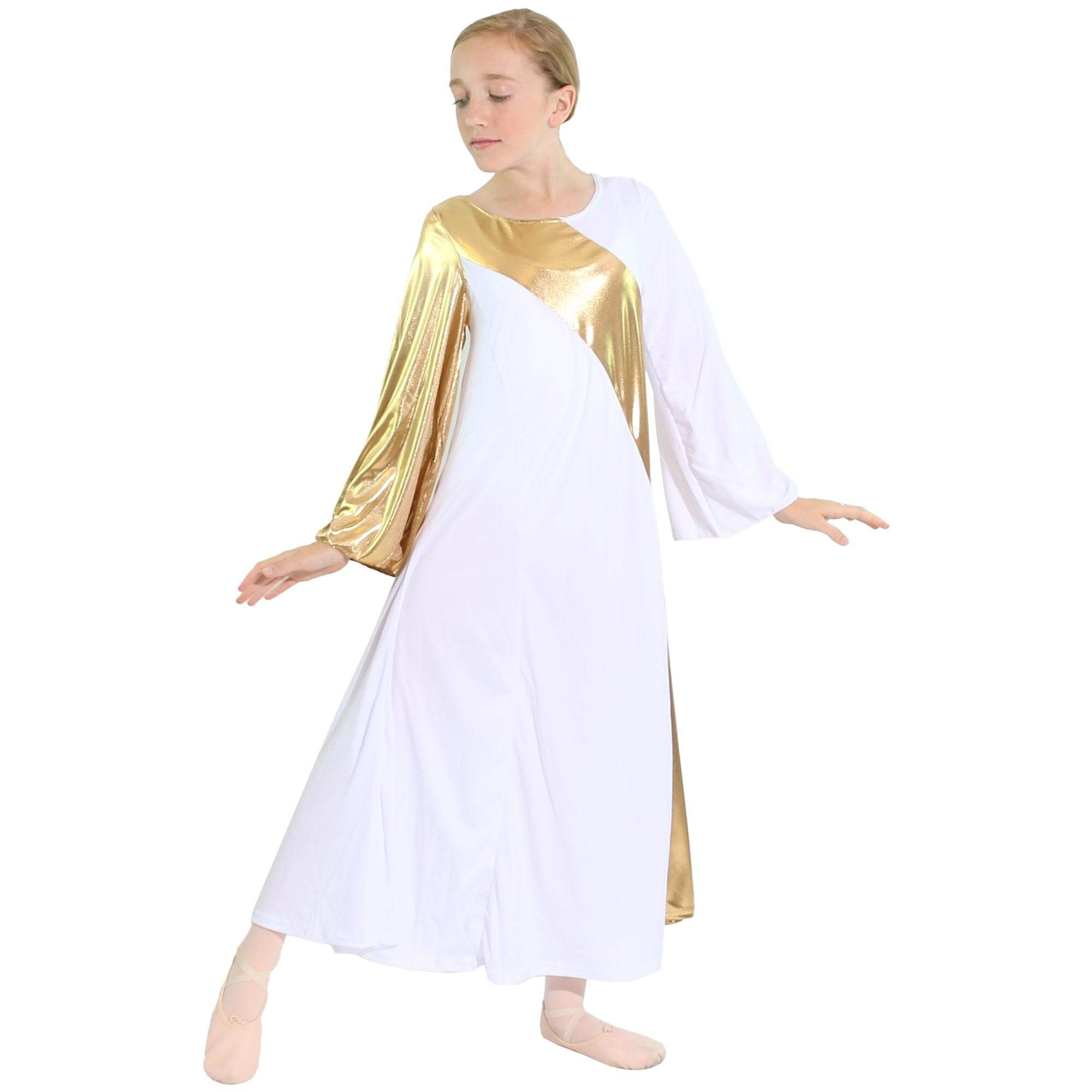 Danzcue Child Praise Dance Asymmetrical Bell Sleeve Dress