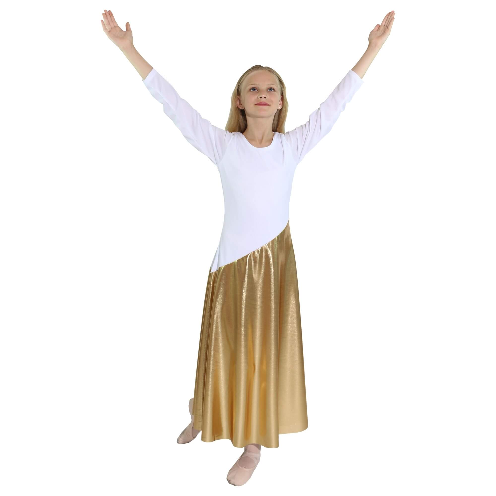 Danzcue Child Bi Color Long Sleeve Praise Dance Dress