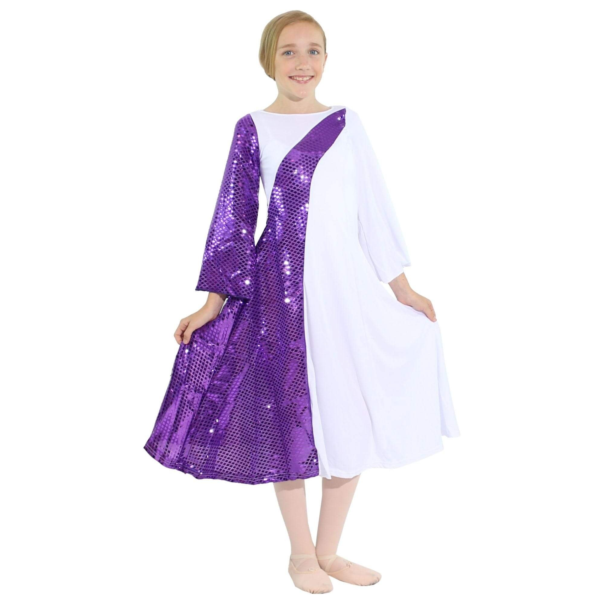 Danzcue White/Metallic Deep Purple Asymmetrical Bell Sleeve Child Dance Dress