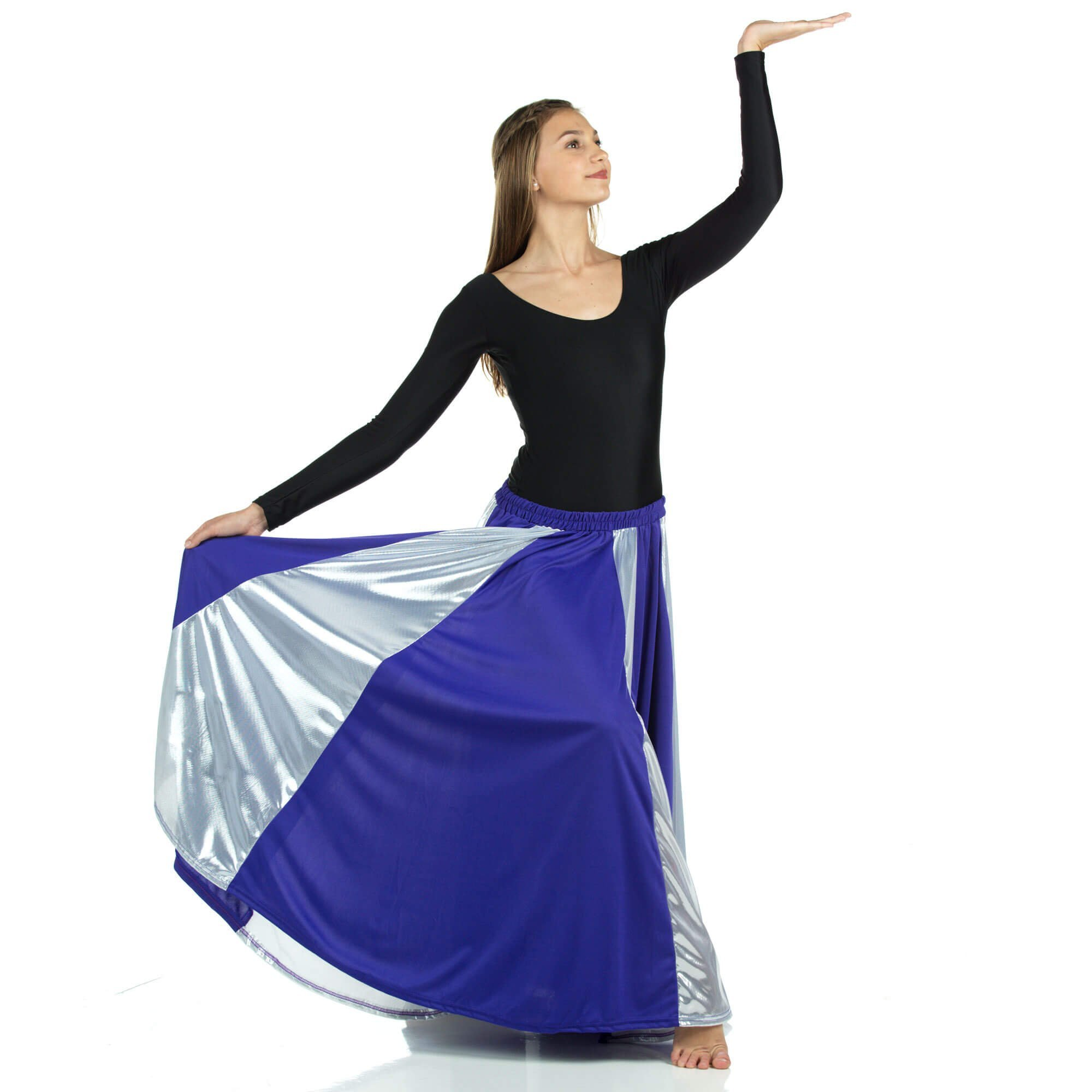 Praise Dance Deep Purple-Silver Long Circle Skirt