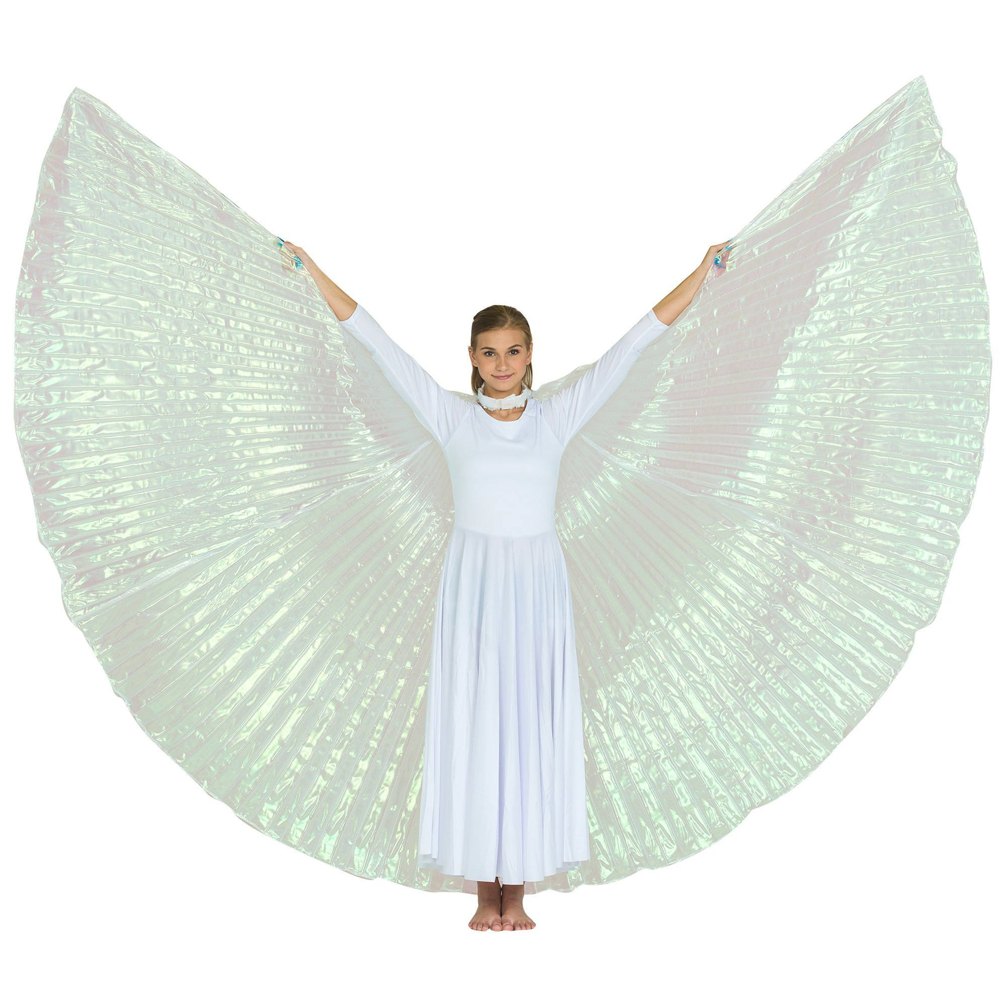 2-pc Set Danzcue Praise Full Length Long Sleeve Dance Dress Iridescent Angel Wing