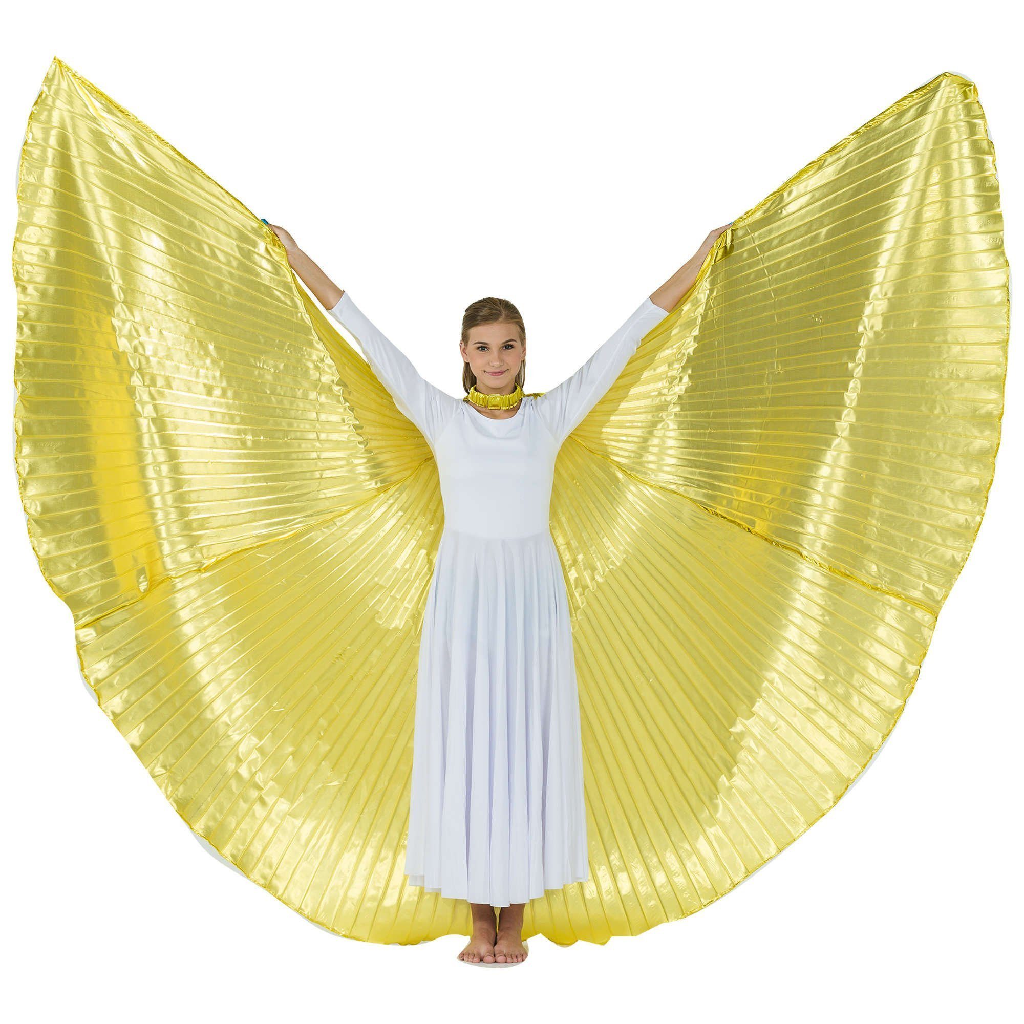 2-pc Set Danzcue Praise Full Length Long Sleeve Dance Dress Gold Angel Wing