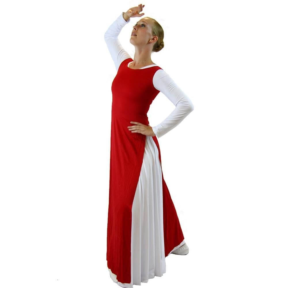 2-pc Set Danzcue Praise Full Length Long Sleeve Dance Dress Tunic with Side Slits