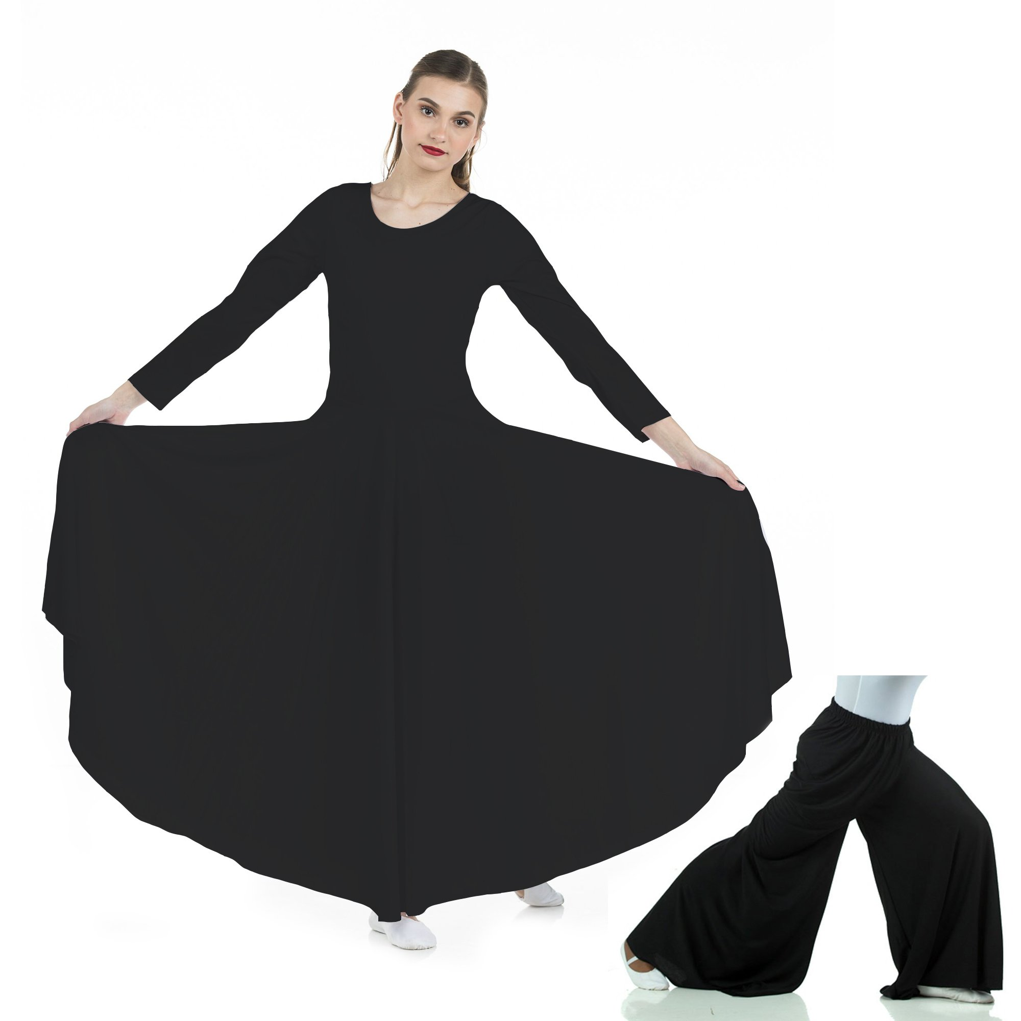 2-pc Set Danzcue Praise Full Length Long Sleeve Dance Dress with Palazzo Pants