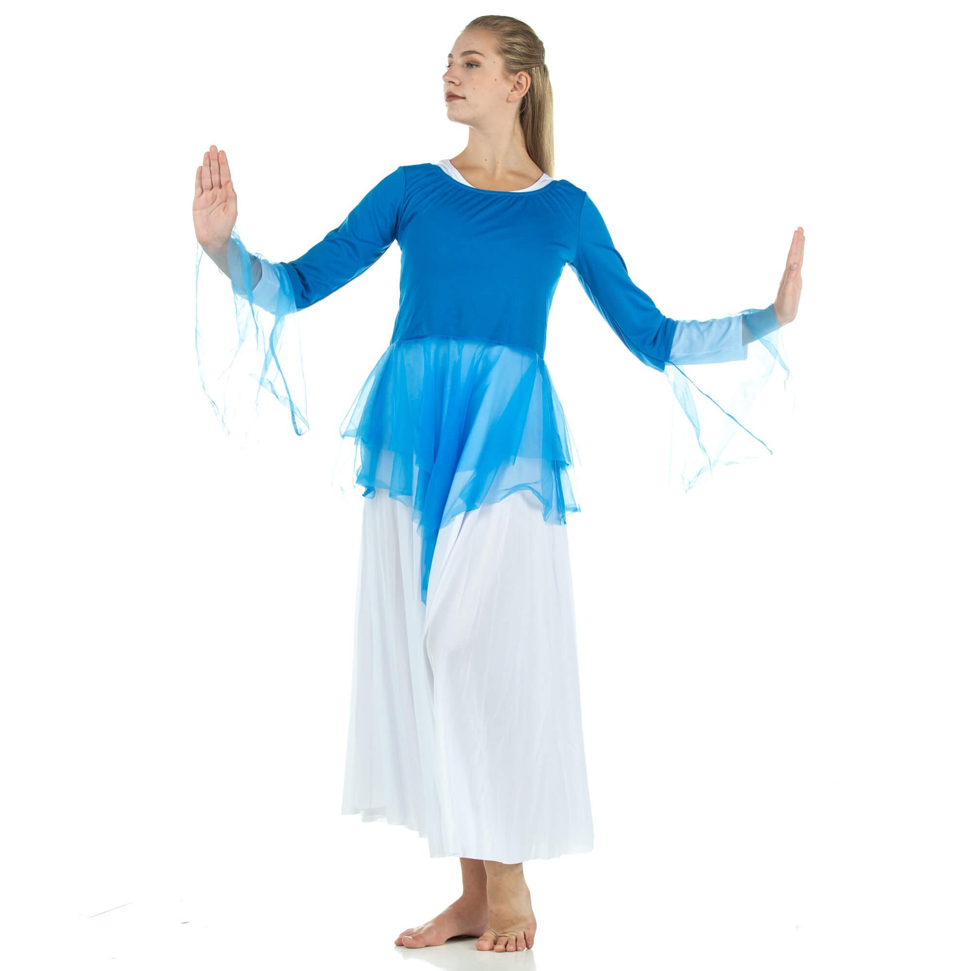 2-pc Set Danzcue Praise Full Length Long Sleeve Dance Dress with Chiffon Skirted Tunic