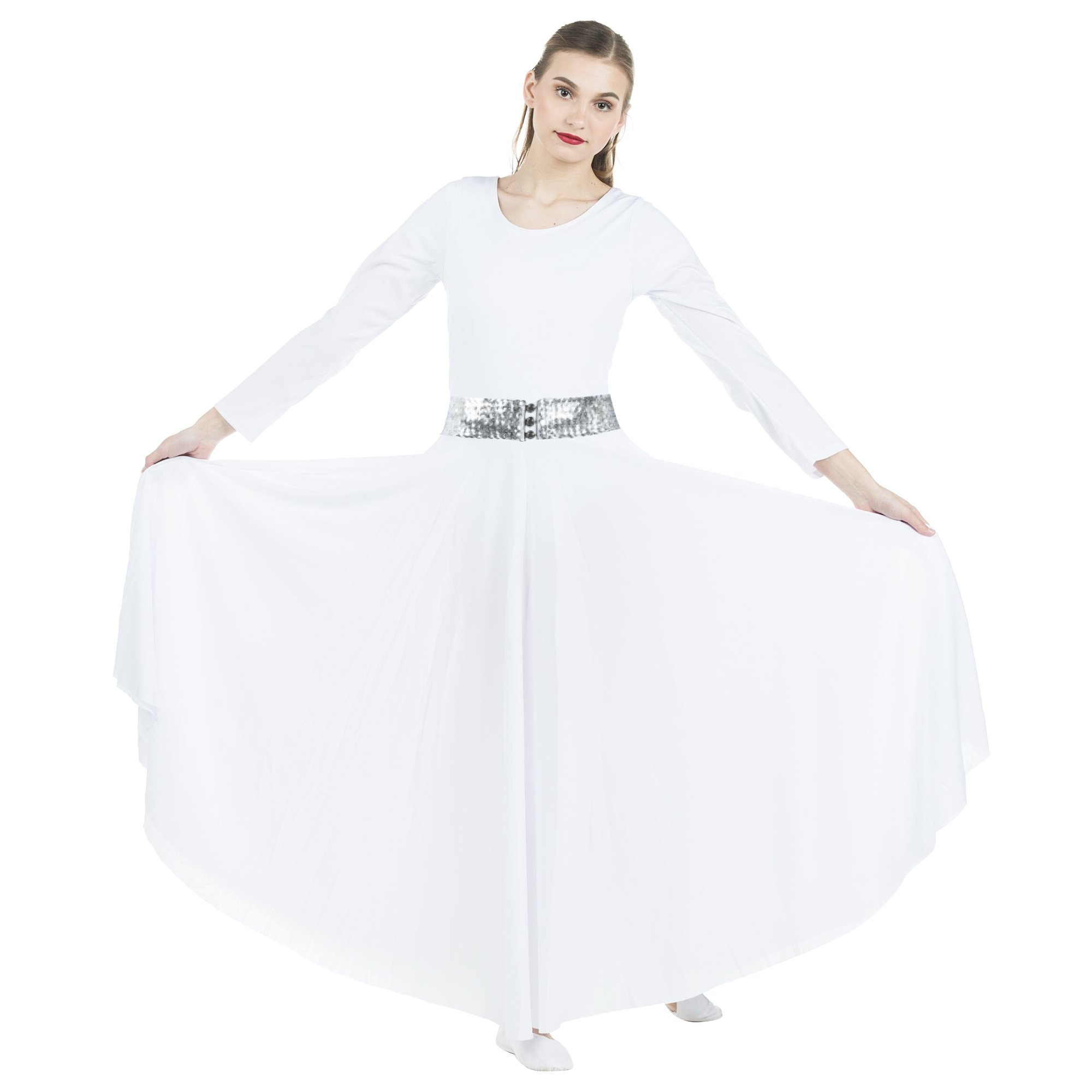 2-pc Set Danzcue Praise Full Length Long Sleeve Dance Dress with Sequin Elastic Belt