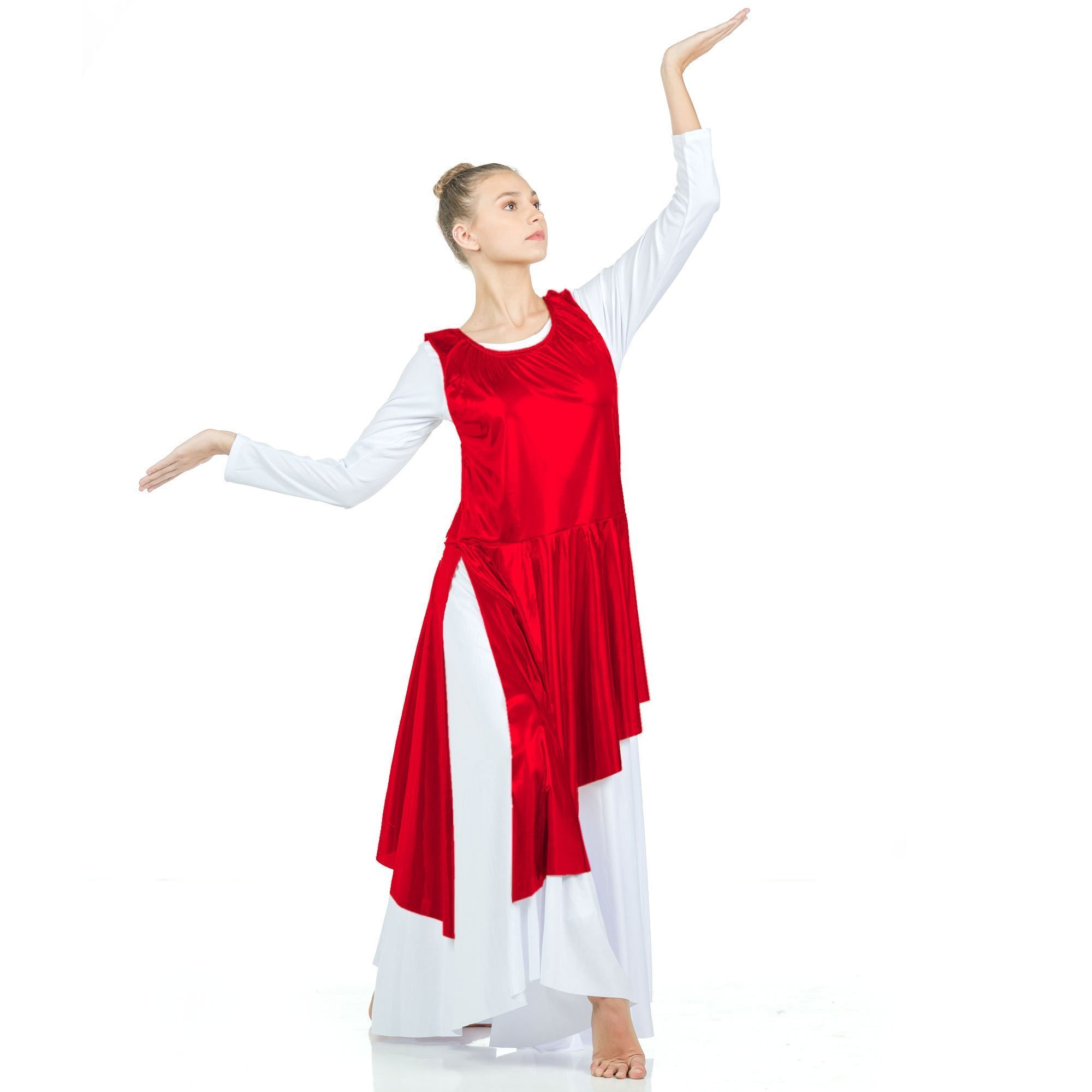 2-pc Set Danzcue Praise Full Length Long Sleeve Dance Dress with Asymmetrical Metallic Tunic