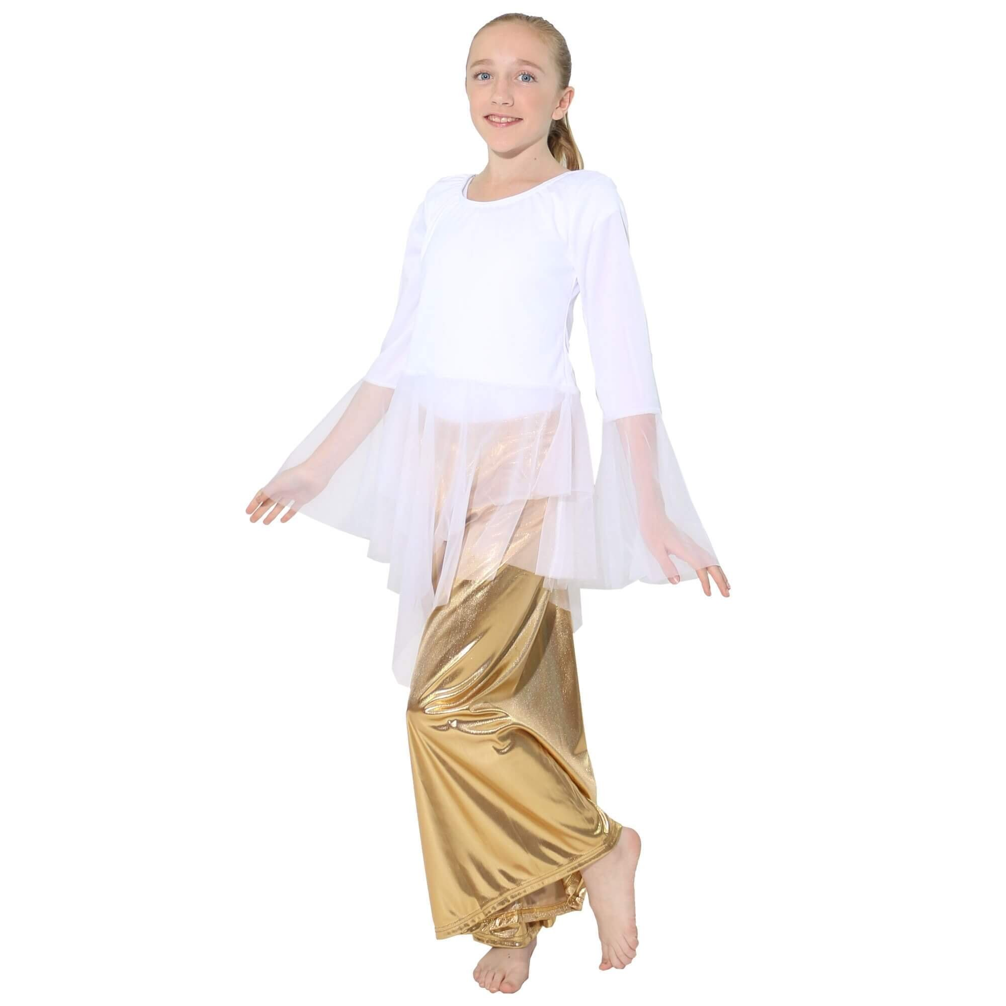 Child Ministry Dance White Chiffon Skirted Tunic