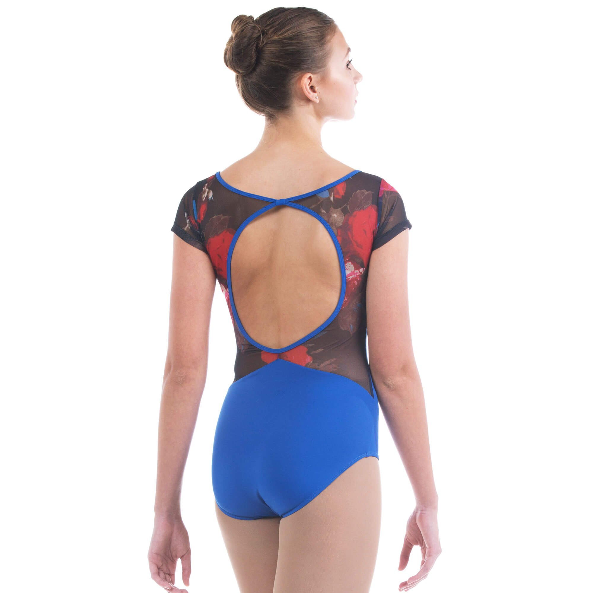 Baiwu Womens Mesh Print  Circle Back Leotard