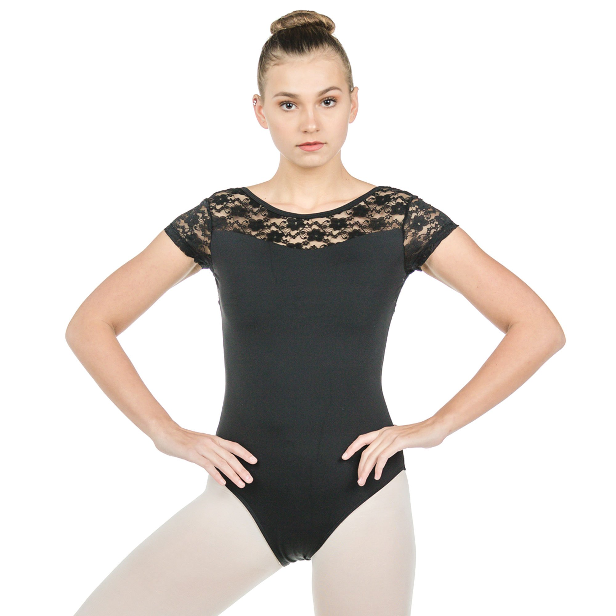 Baiwu Adult Cap Sleeve Lace Up Round Back Leotard
