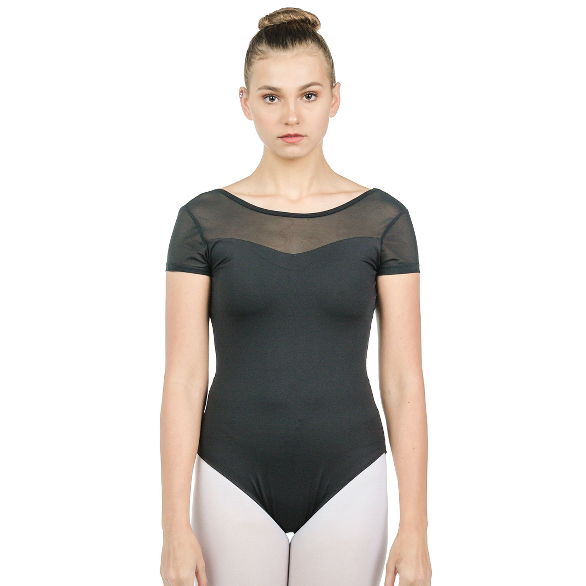 Baiwu Adult Cap Sleeve Mesh Up Round Back Leotard