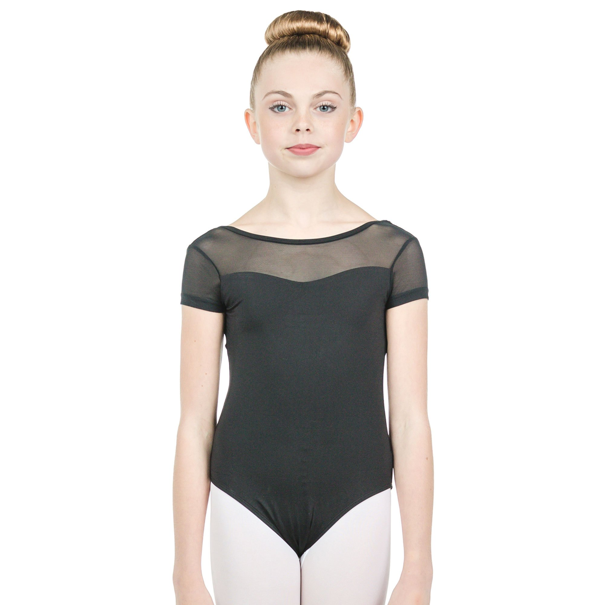 Baiwu Child Cap Sleeve Mesh Up Round Back Leotard