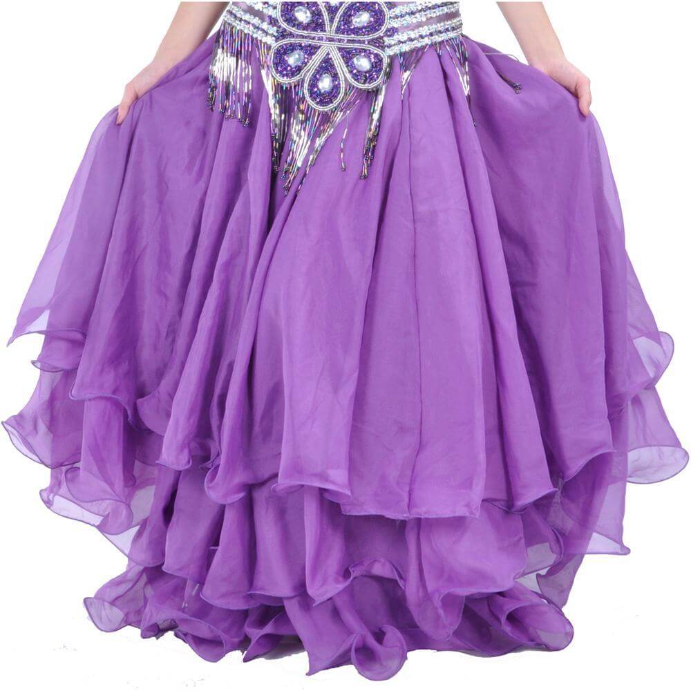 Purple Three-Layer Chiffon Belly Dance Skirt