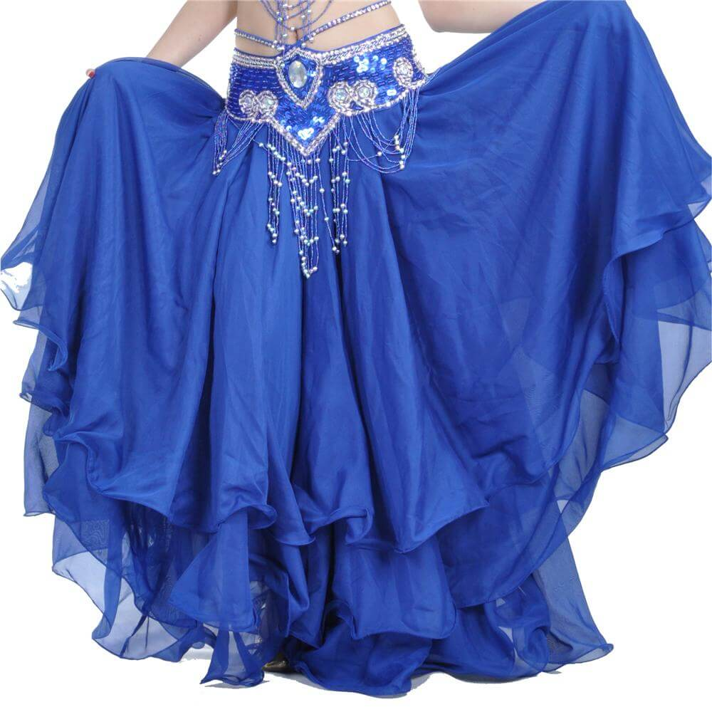 Three-layer Chiffon Belly Dance Skirt (belt Not Included)