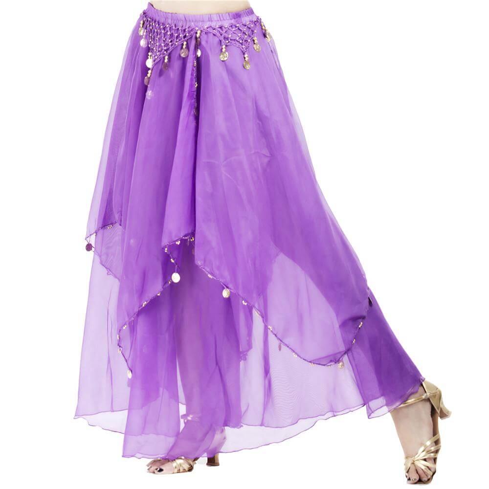 Fashionable Chiffon Hanging Coin Belly Dance Skirt