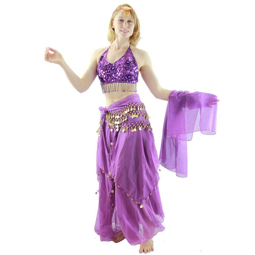 Florals 5-piece Bra And Muslin Skirt Belly Dance Costume