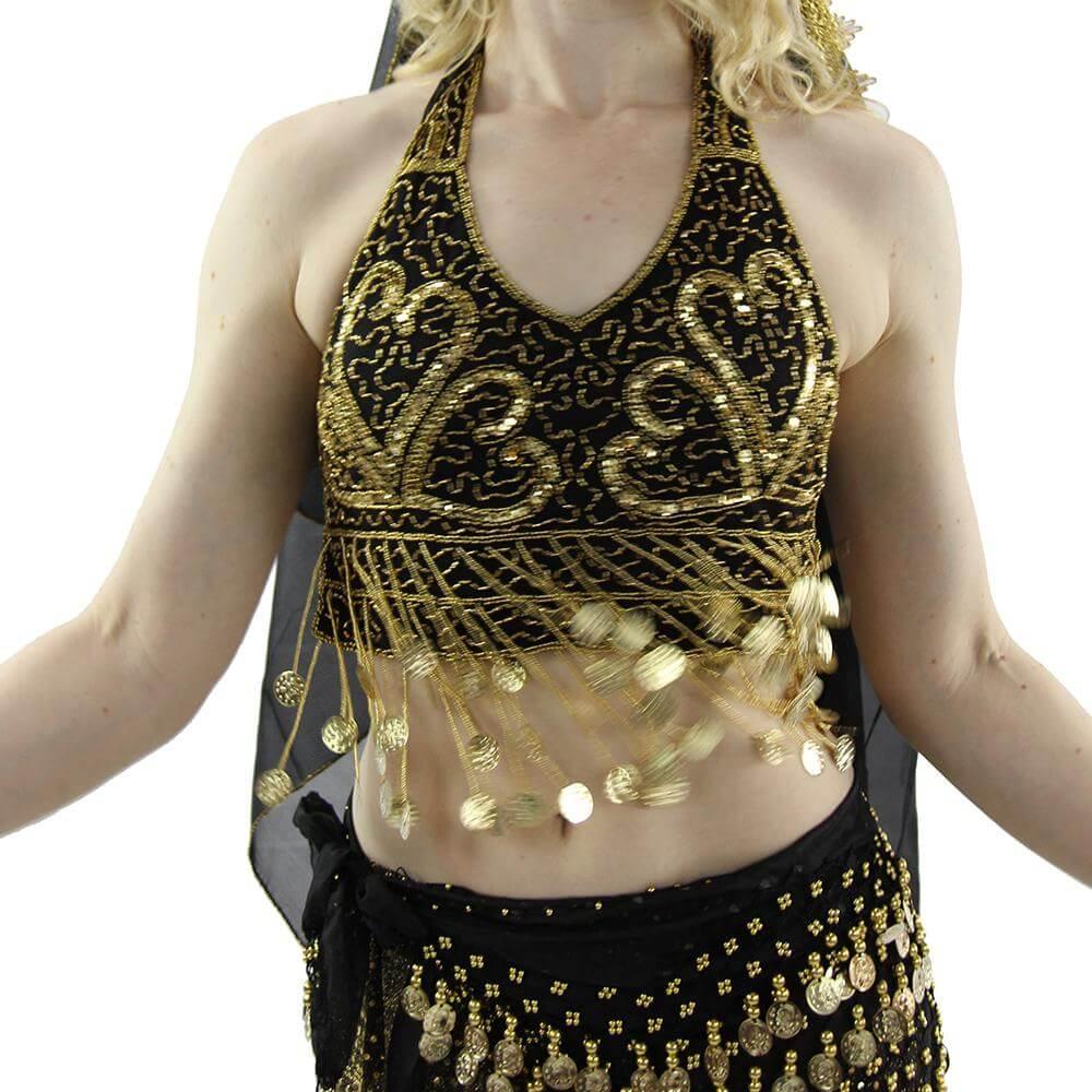 Fashion Coin Tassels Halter Vest Belly Dance Bra Top