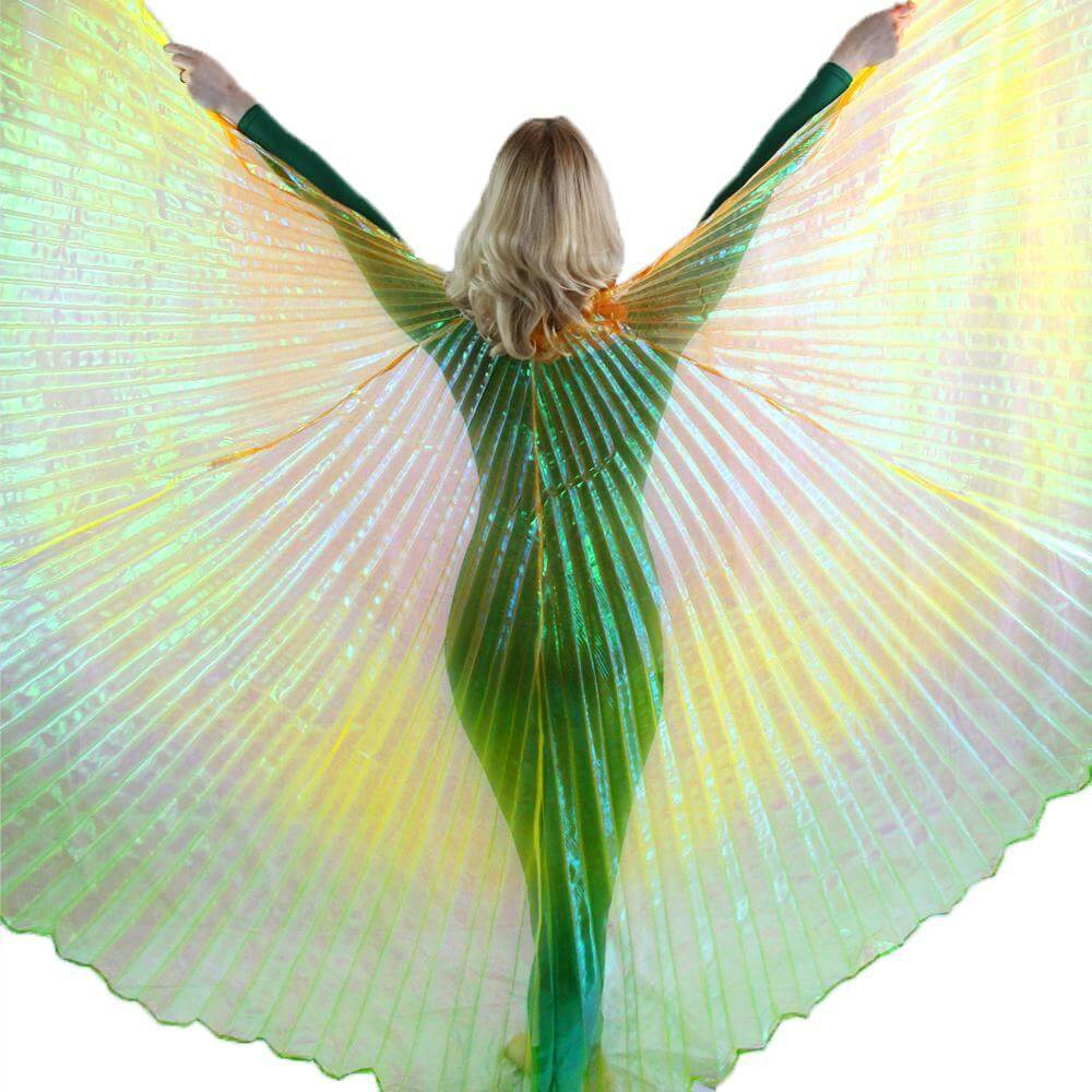 Orange-gold-green Gradient Color Worship Angel Wing