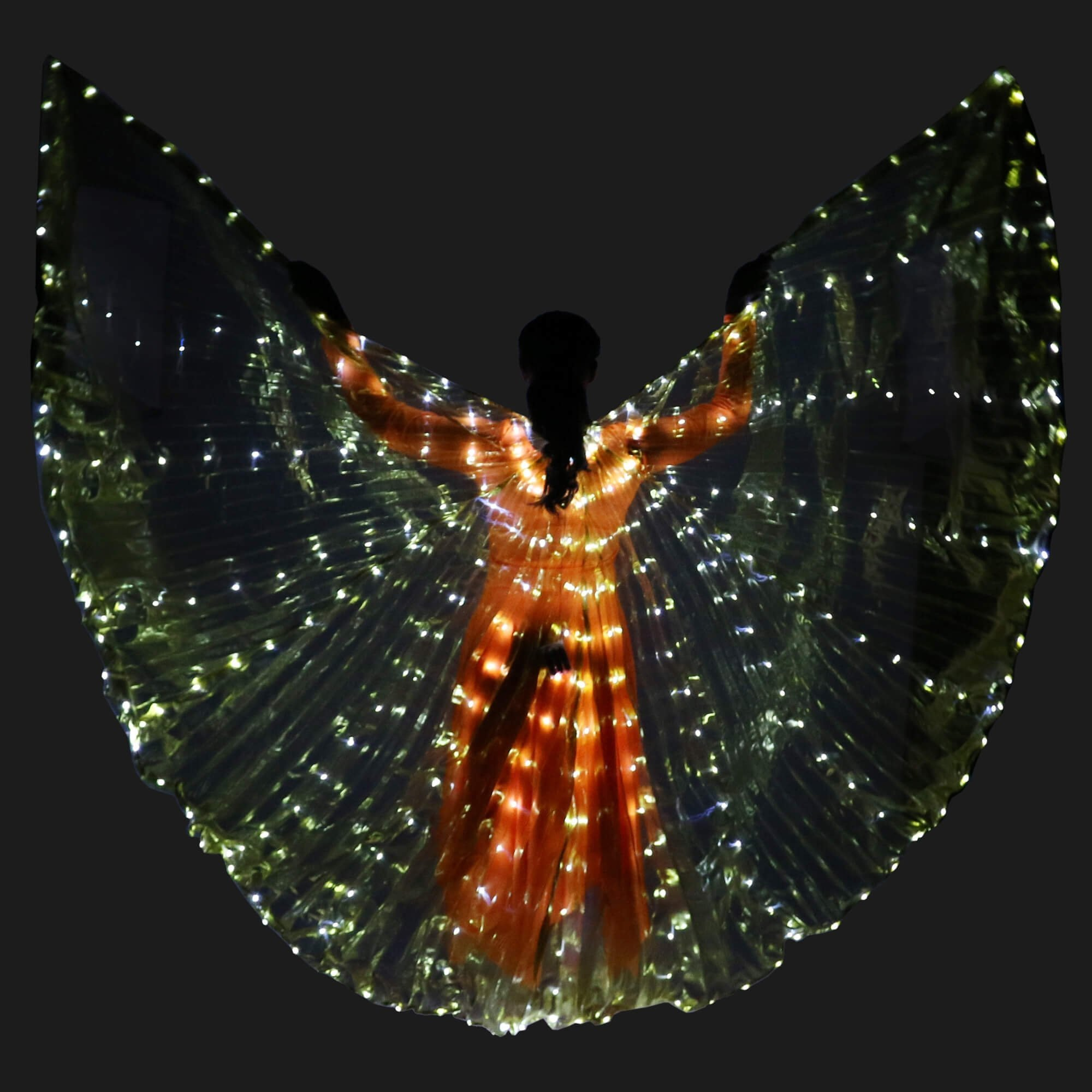 Danzcue Transparent Gold Costume Angel LED Wing