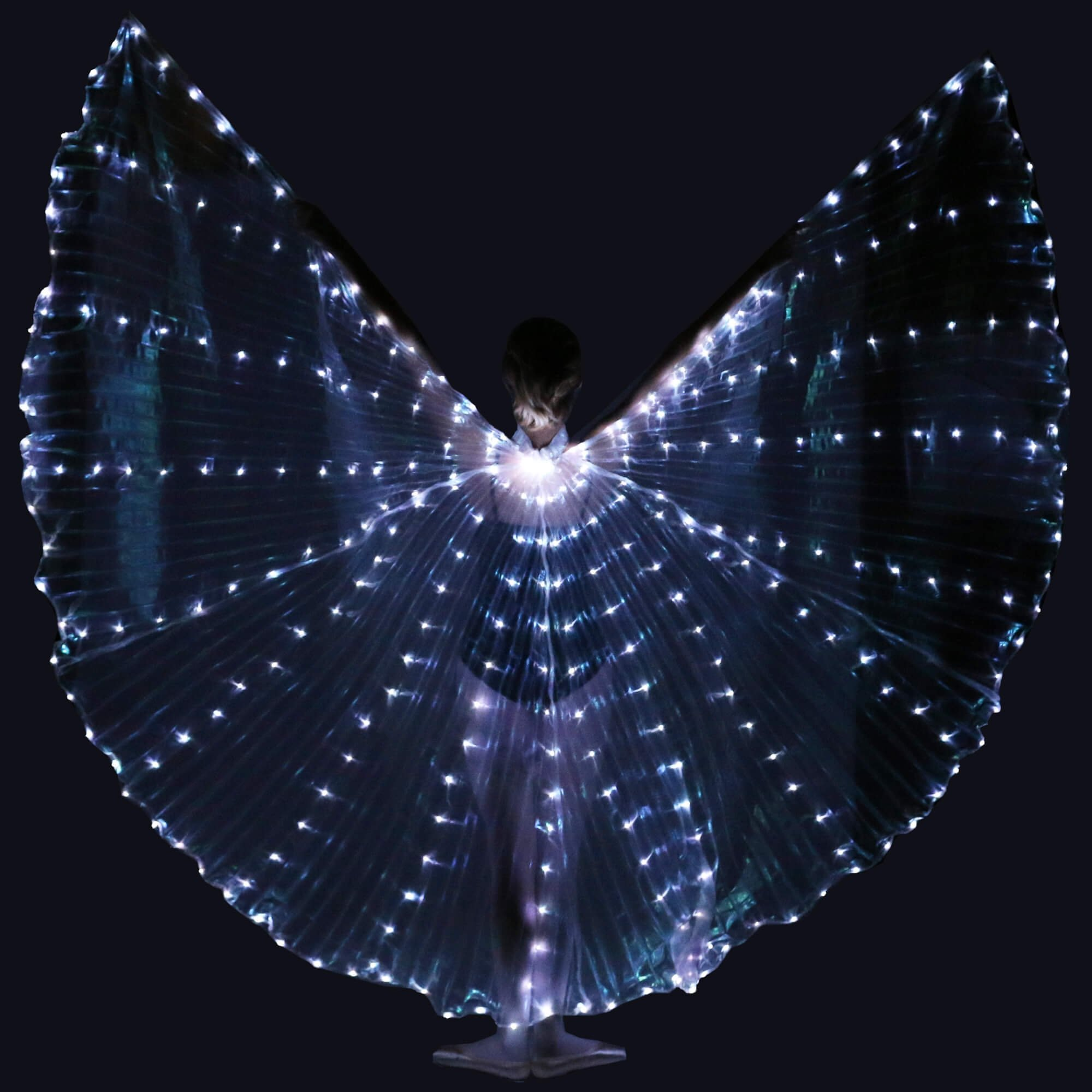 Danzcue Transparent White Costume Angel LED Wing