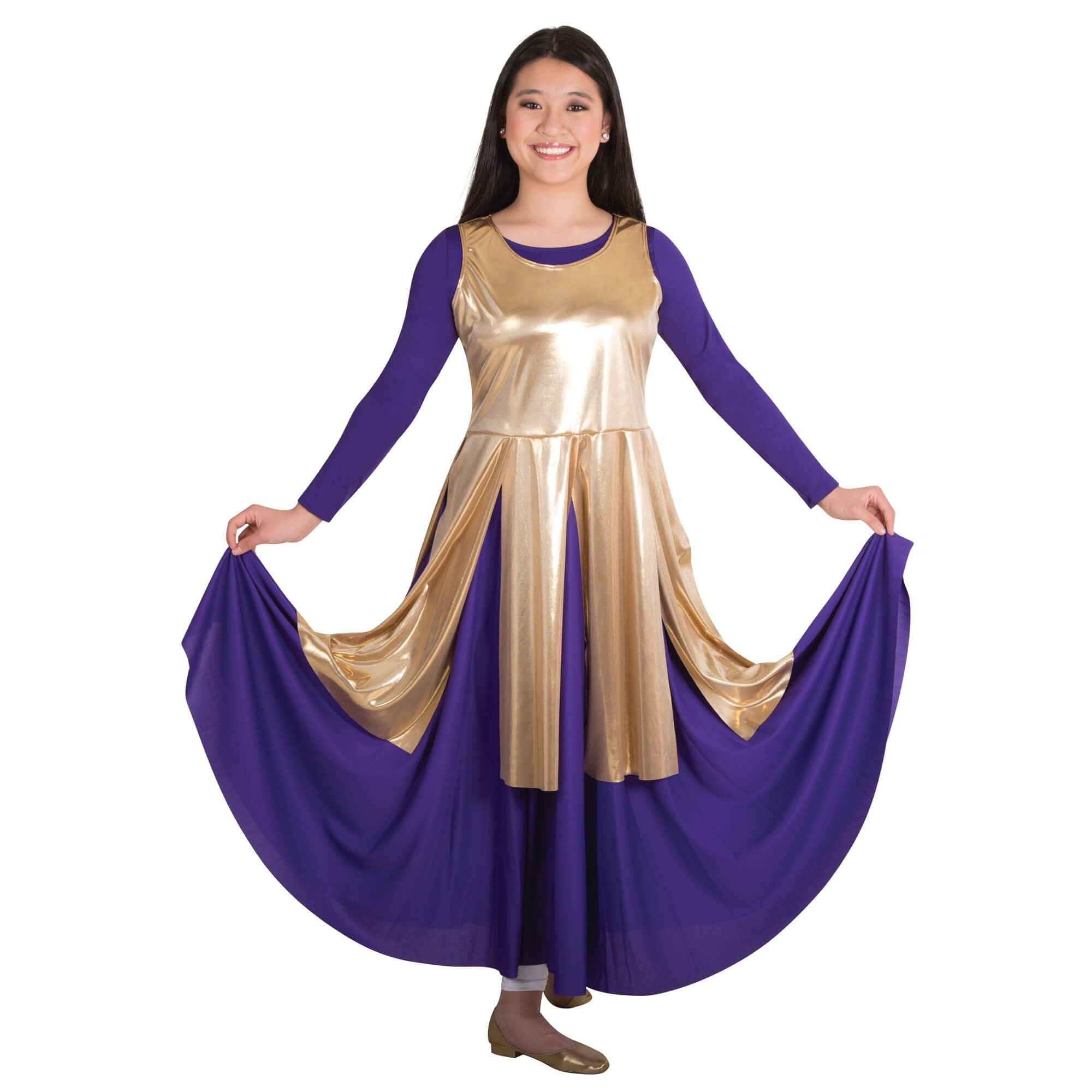 Body Wrappers Metallic Fly-Away Panel Tunic