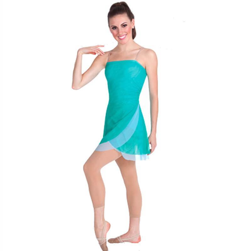 Body Wrappers Mesh Asymmetrical Dance Dress
