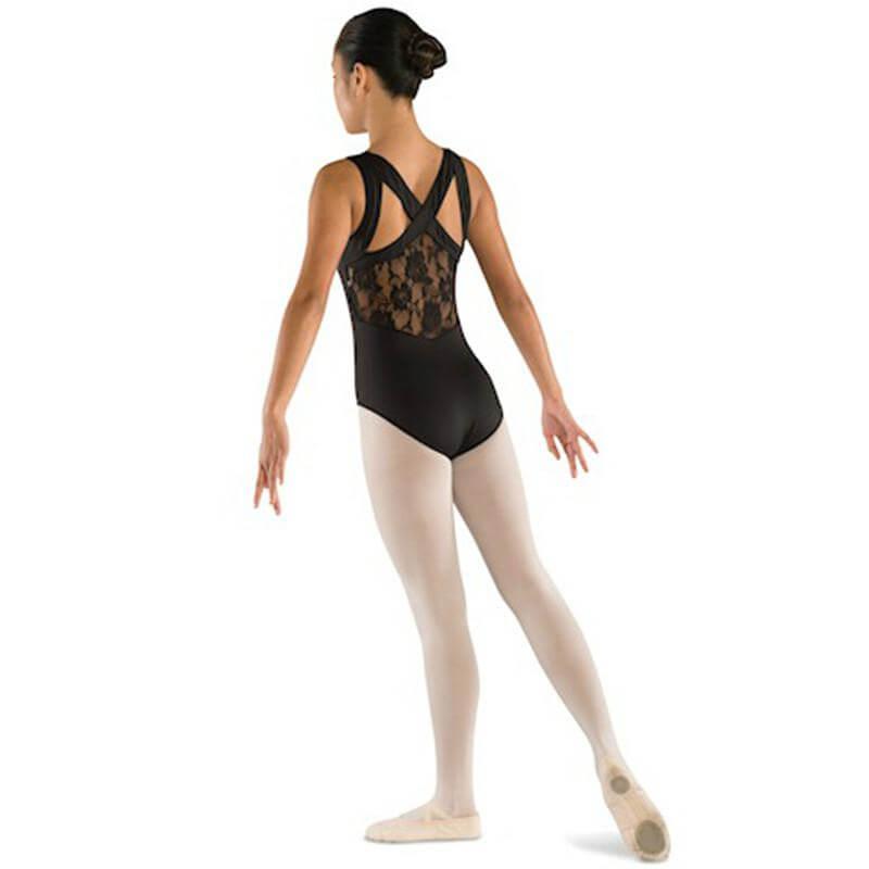 Danshuz Adult Lace Back Leotard With Wide Cross Straps