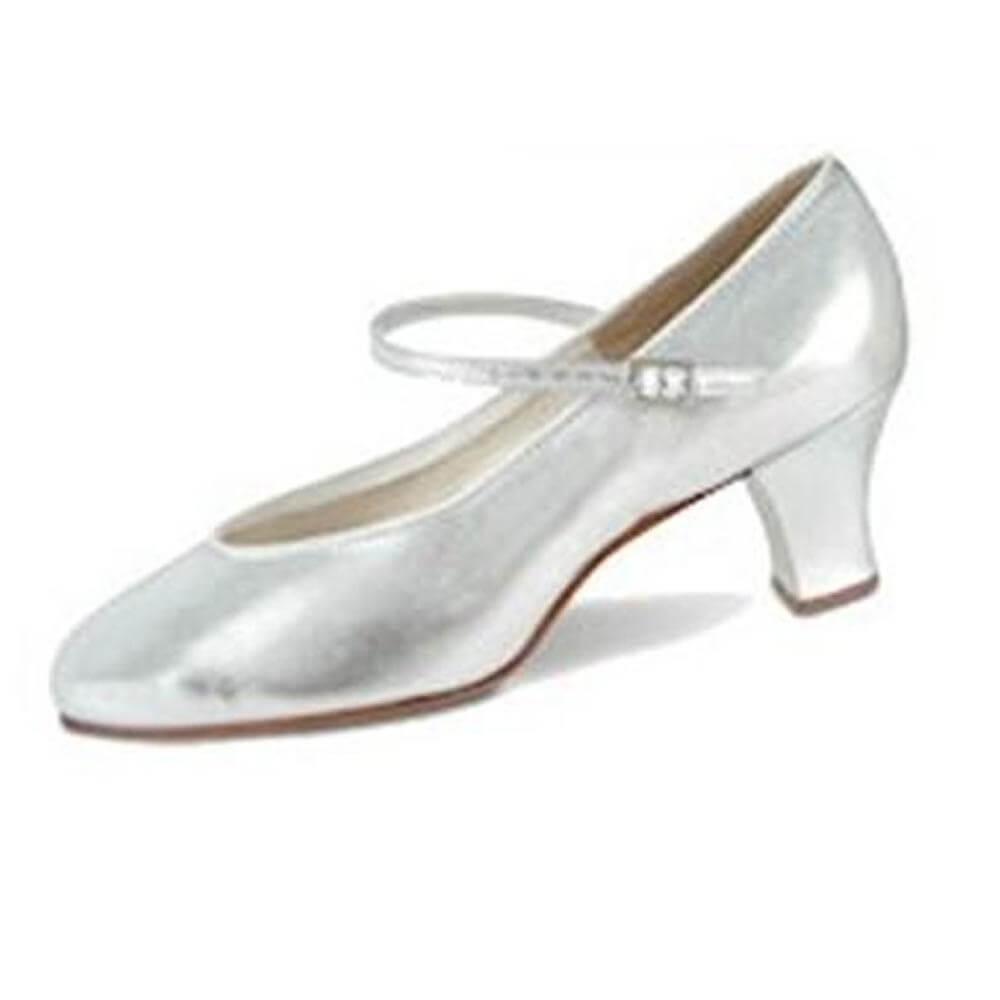 Danshuz 2 Heel Silver Musical Comedy Leather Character Shoe