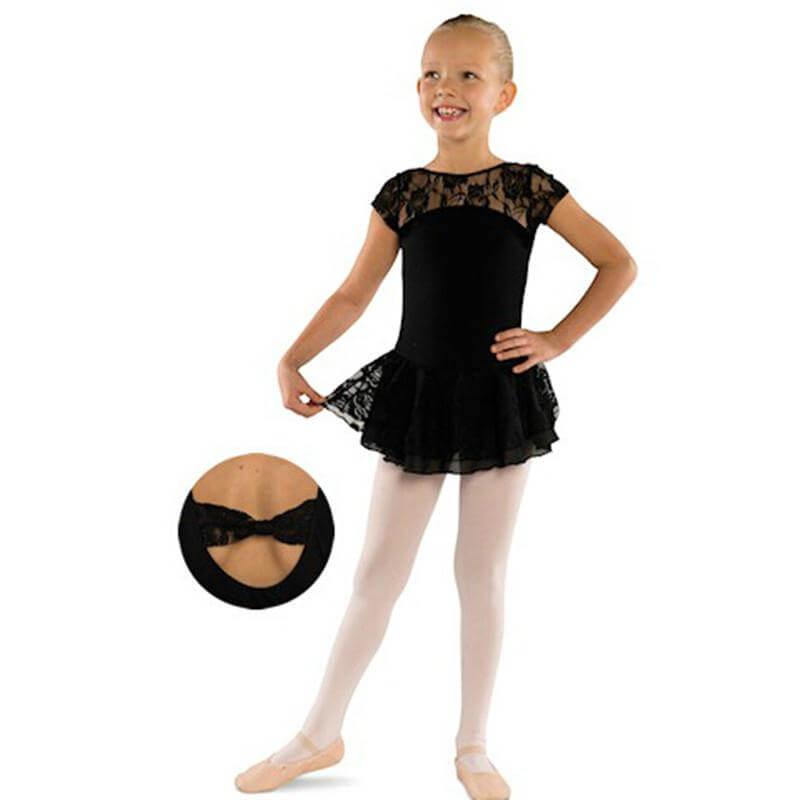 Danshuz Child Cap Sleeve Lace Front Dress w/ Double Layer Skirt