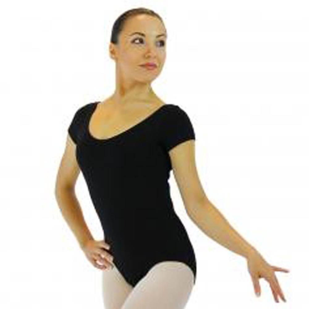 Danzcue Nylon Short Sleeve Ballet Cut Leotard