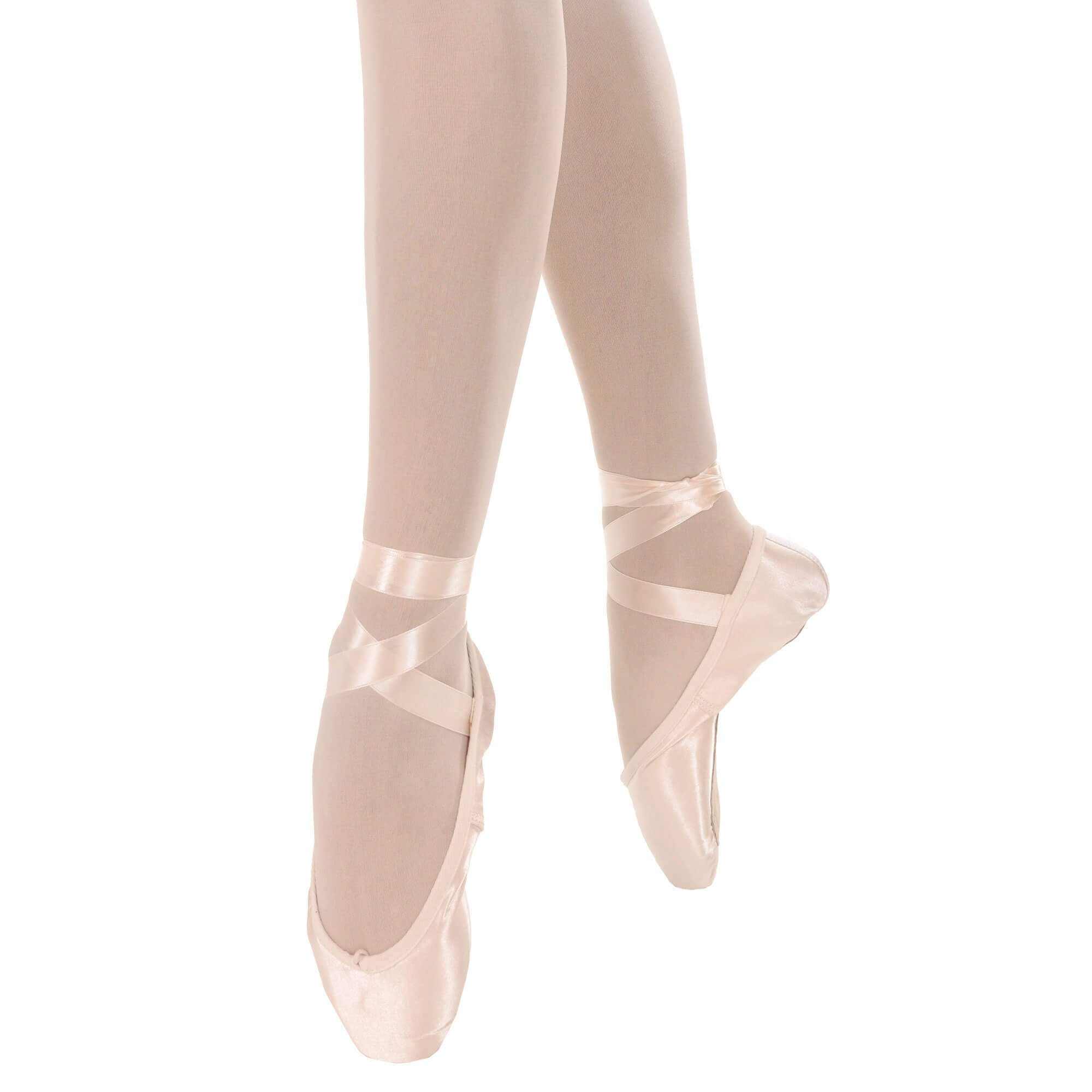 Danzcue Womens Flexiable Soft Shank Pointe Shoes With Ribbon