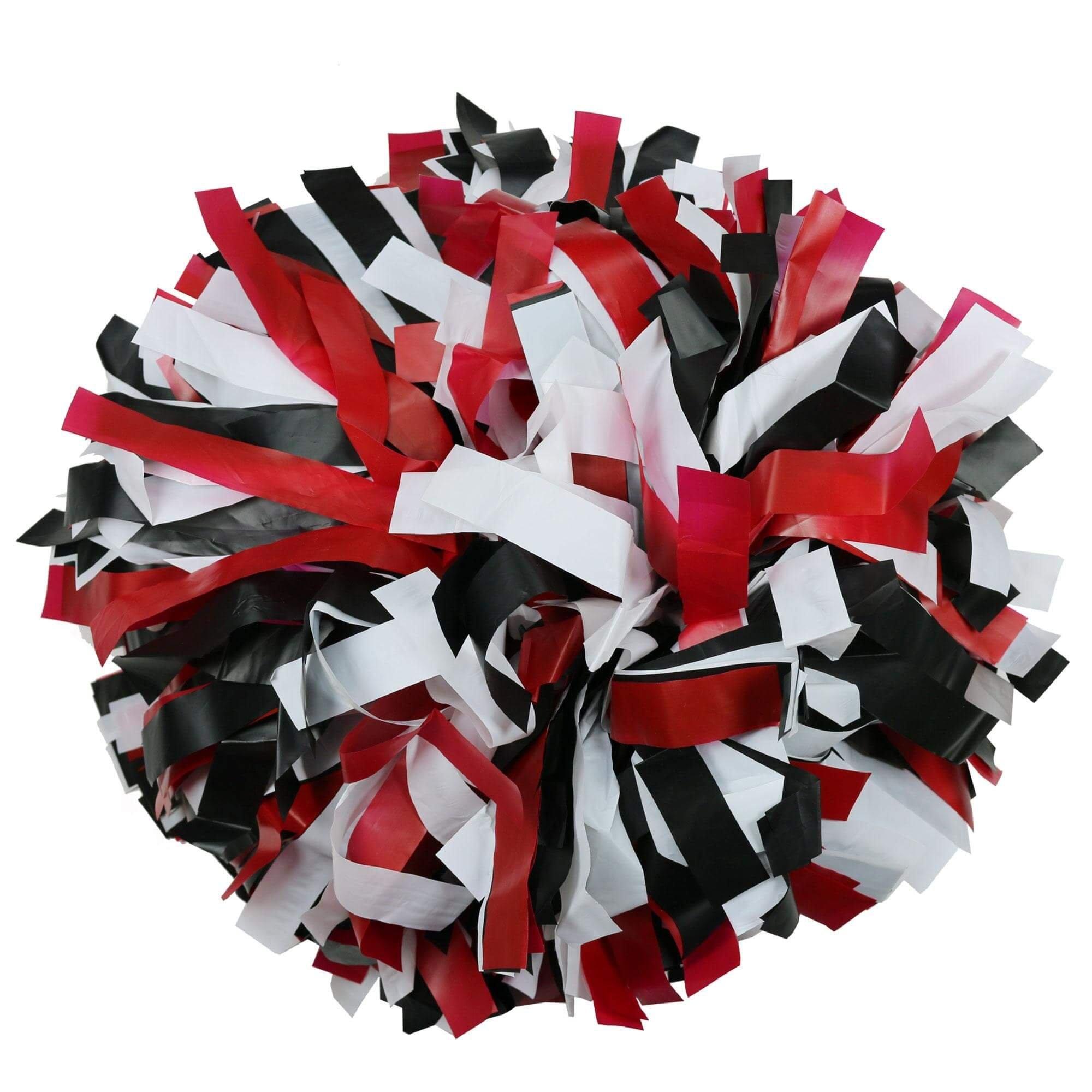 Danzcue Baton Handle Black/red/white Plastic Poms - One Pair