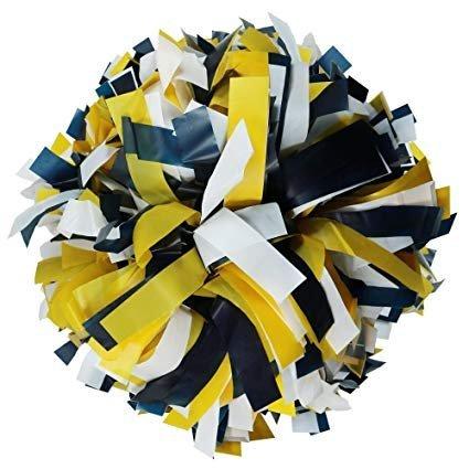 Danzcue 2 Of Navy/gold/white Plastic Mix Cheerleading Pom