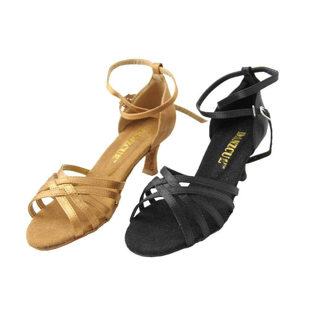 Danzcue Stella Satin Open Toe Ballroom Shoes