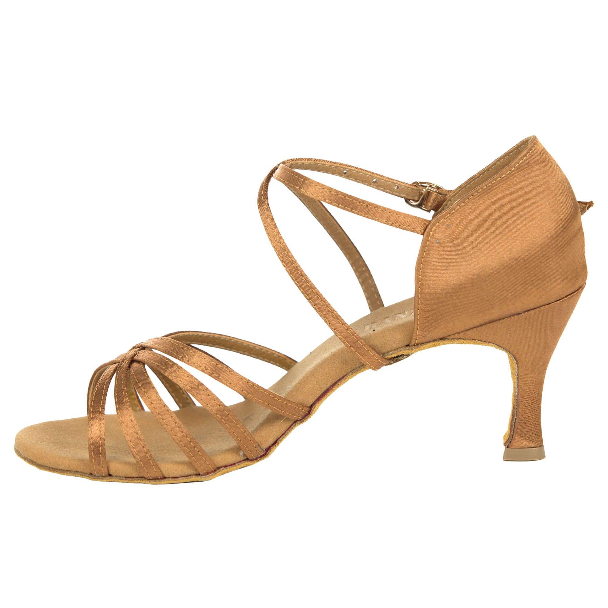 Danzcue Womens Straps Satin Ballroom Dance Shoes