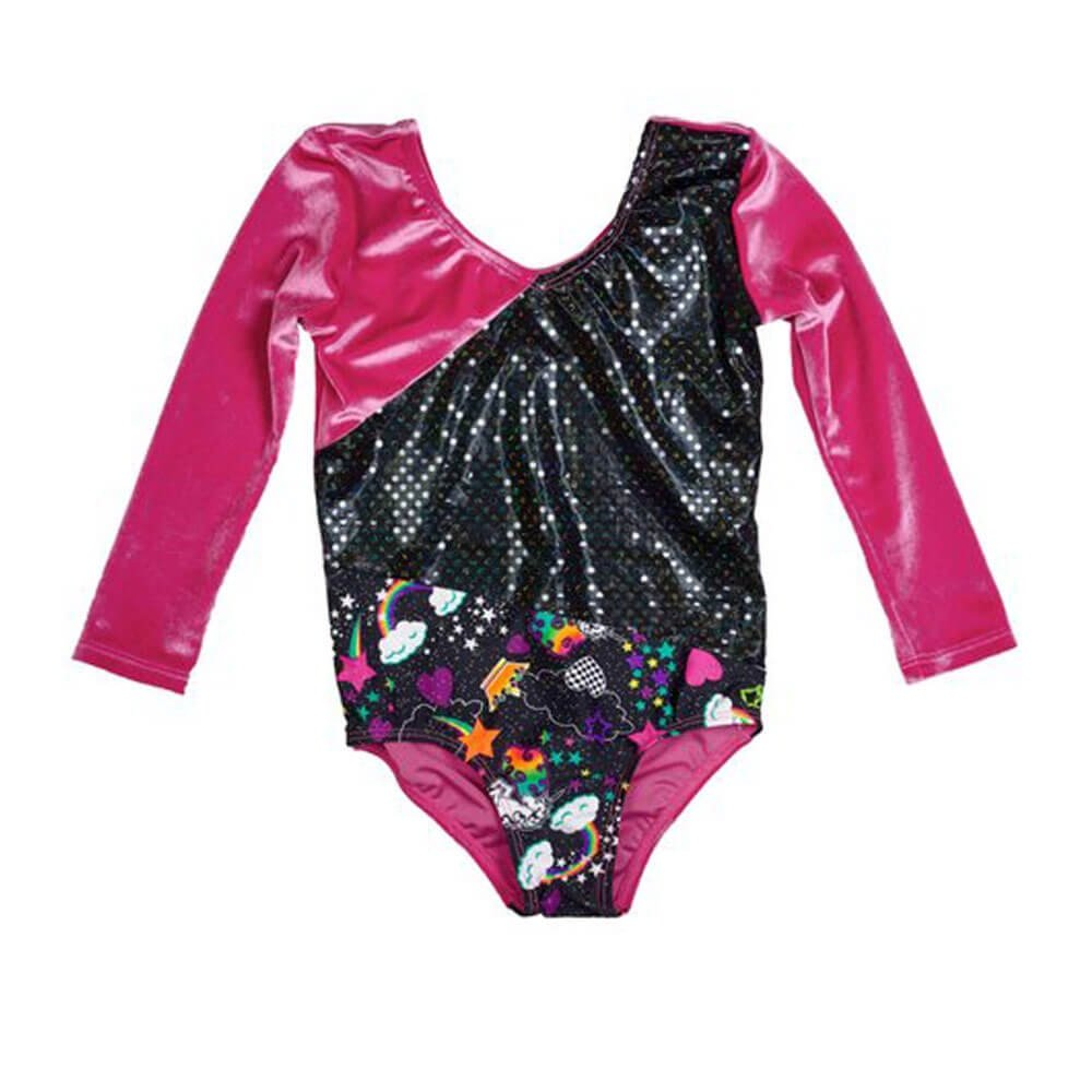 Girl Power Unicorn Fuschia Velvet 3/4 Sleeve Leotard