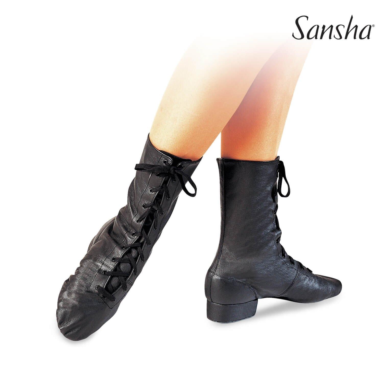 Sansha 1 Heel Canvas Front Lace-up Cabaret Character Boots